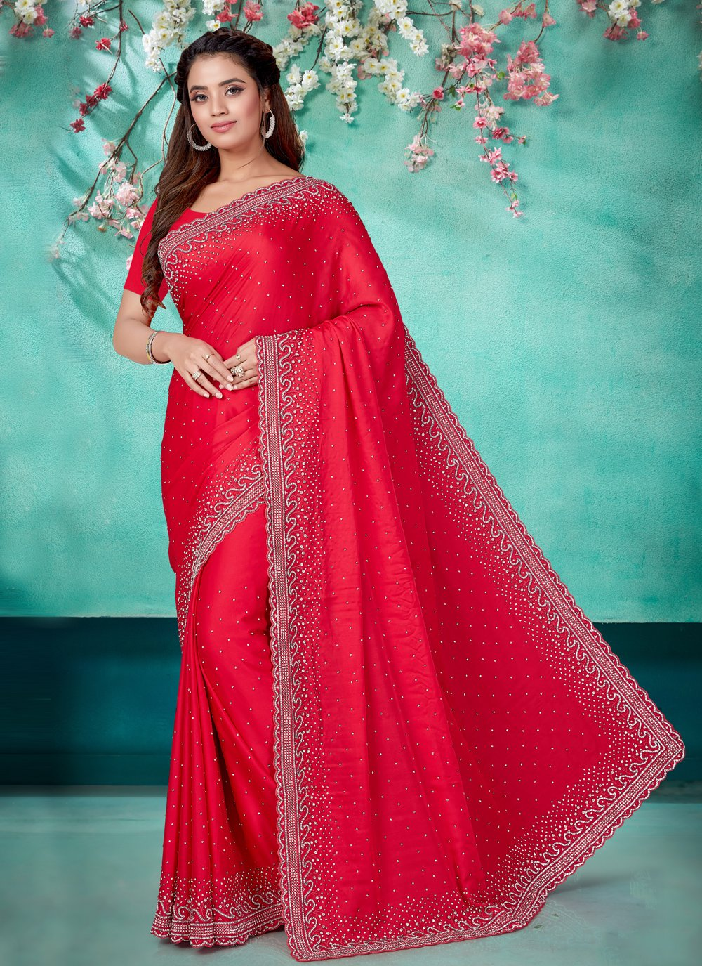 Red Satin Classic Designer Saree