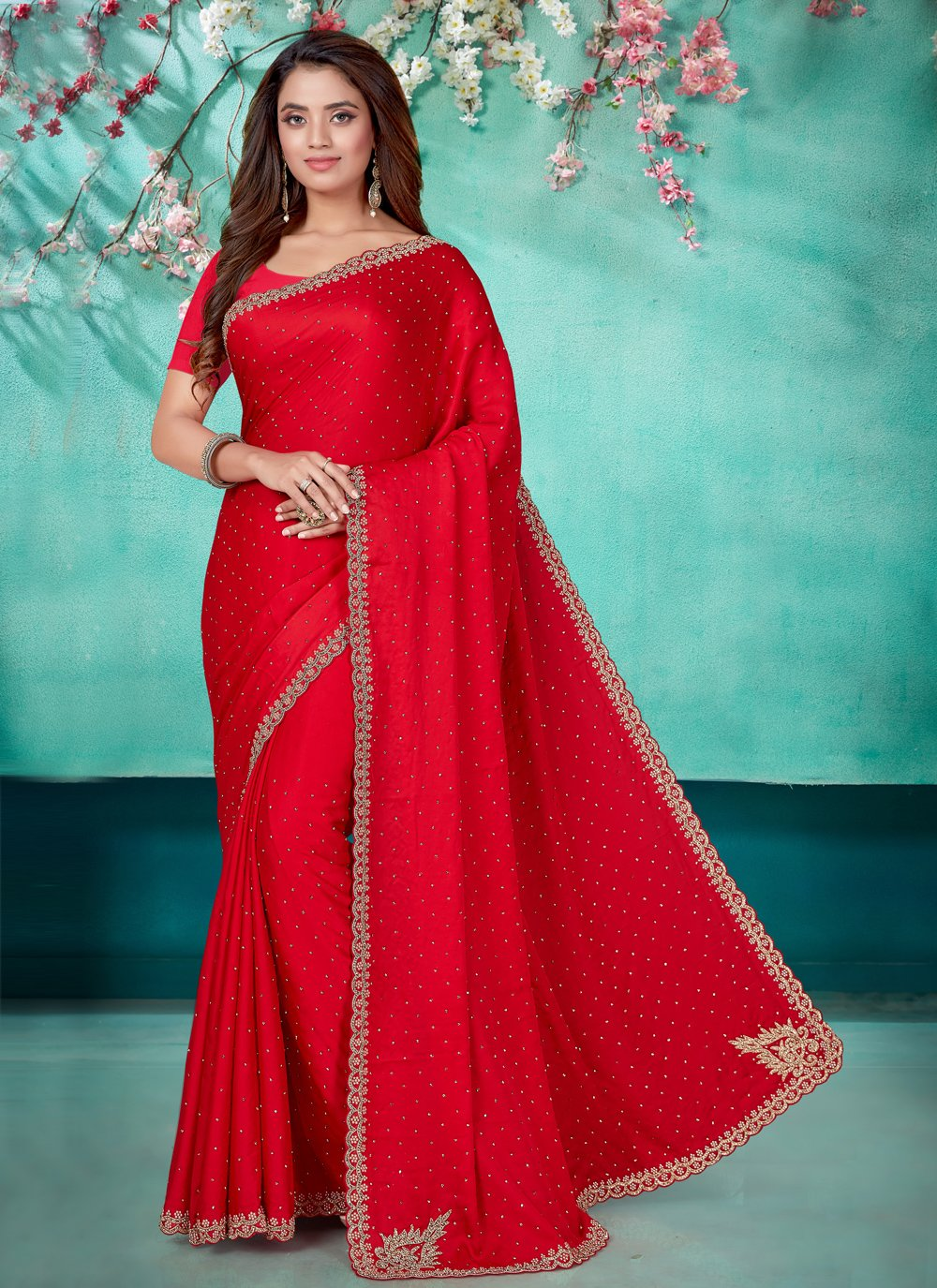 Red Satin Designer Traditional Saree