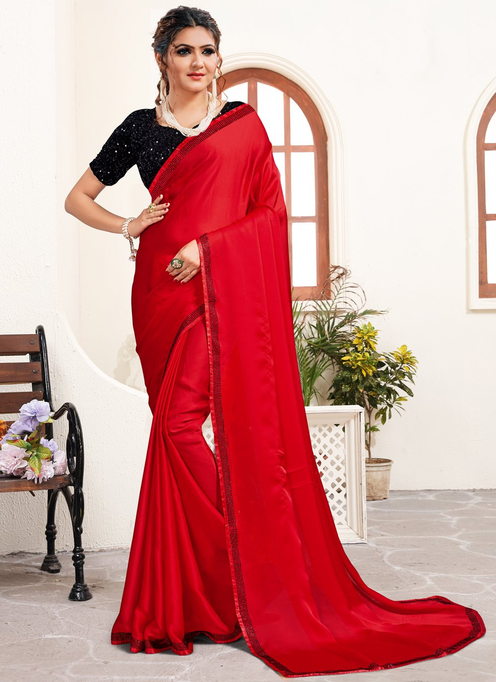 Red Satin Festival Classic Saree