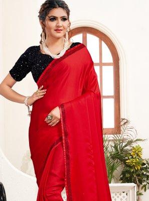 Red Satin Festival Classic Saree