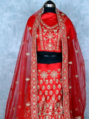 Red Satin Lehenga Choli
