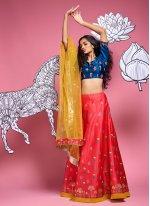 Red Satin Silk A Line Lehenga Choli