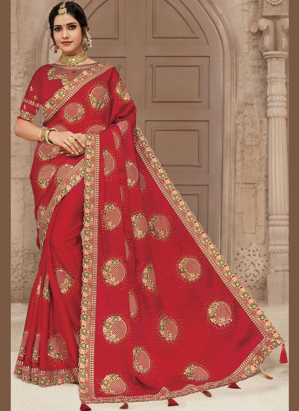 Red Satin Silk Sangeet Classic Designer Saree