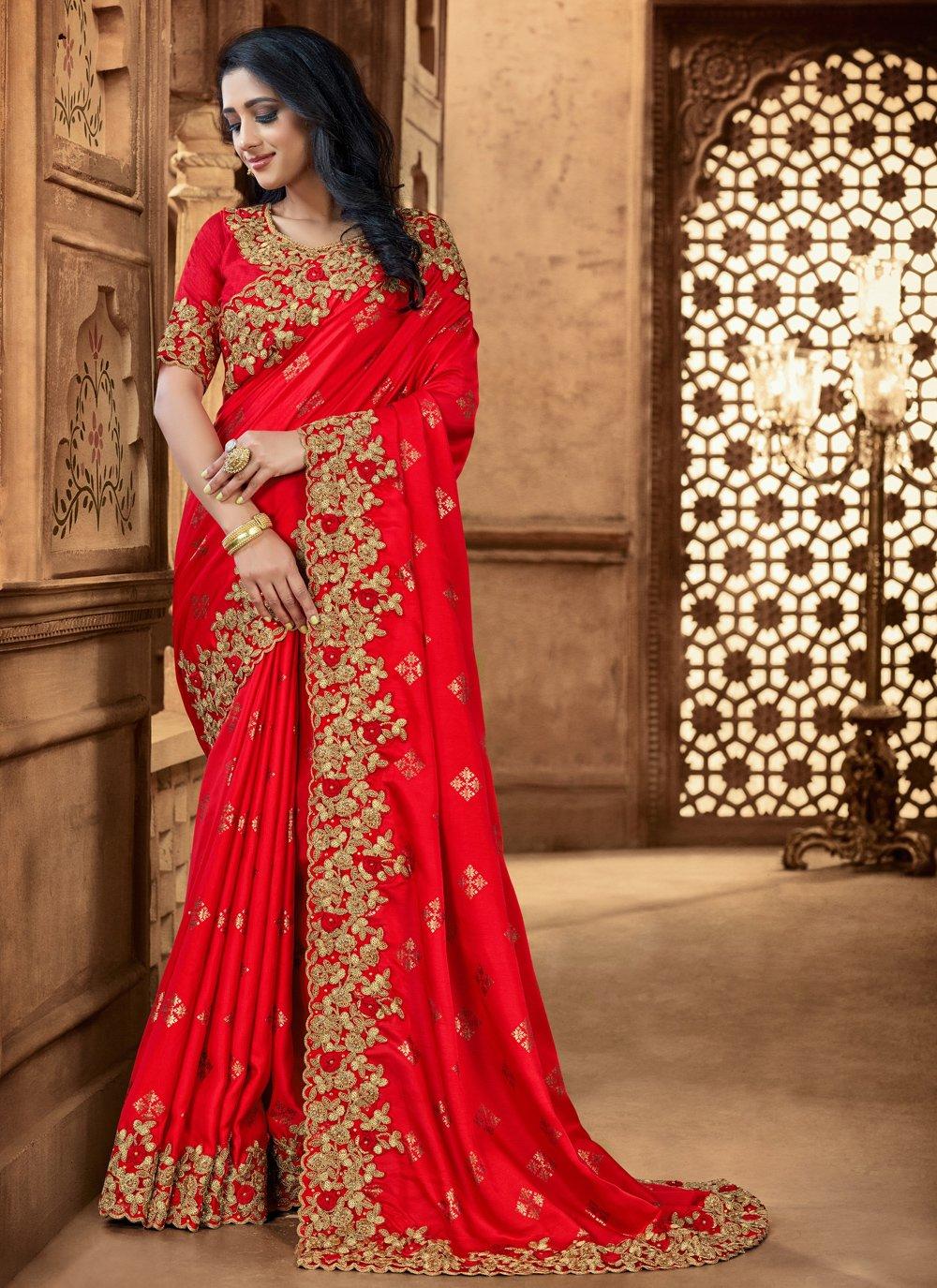Red Sequins Satin Classic Designer Saree