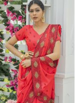 Red Silk Engagement Designer Traditional Saree