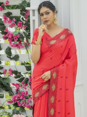 Red Silk Engagement Designer Traditional Saree