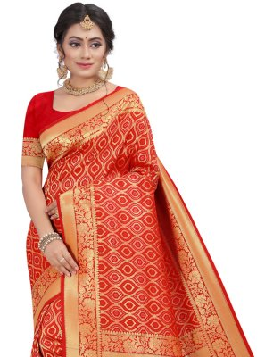 Red Silk Fancy Traditional Designer Saree