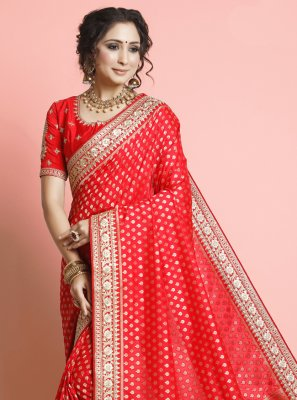 Red Silk Festival Designer Traditional Saree