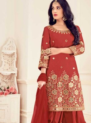 Red Silk Patiala Suit