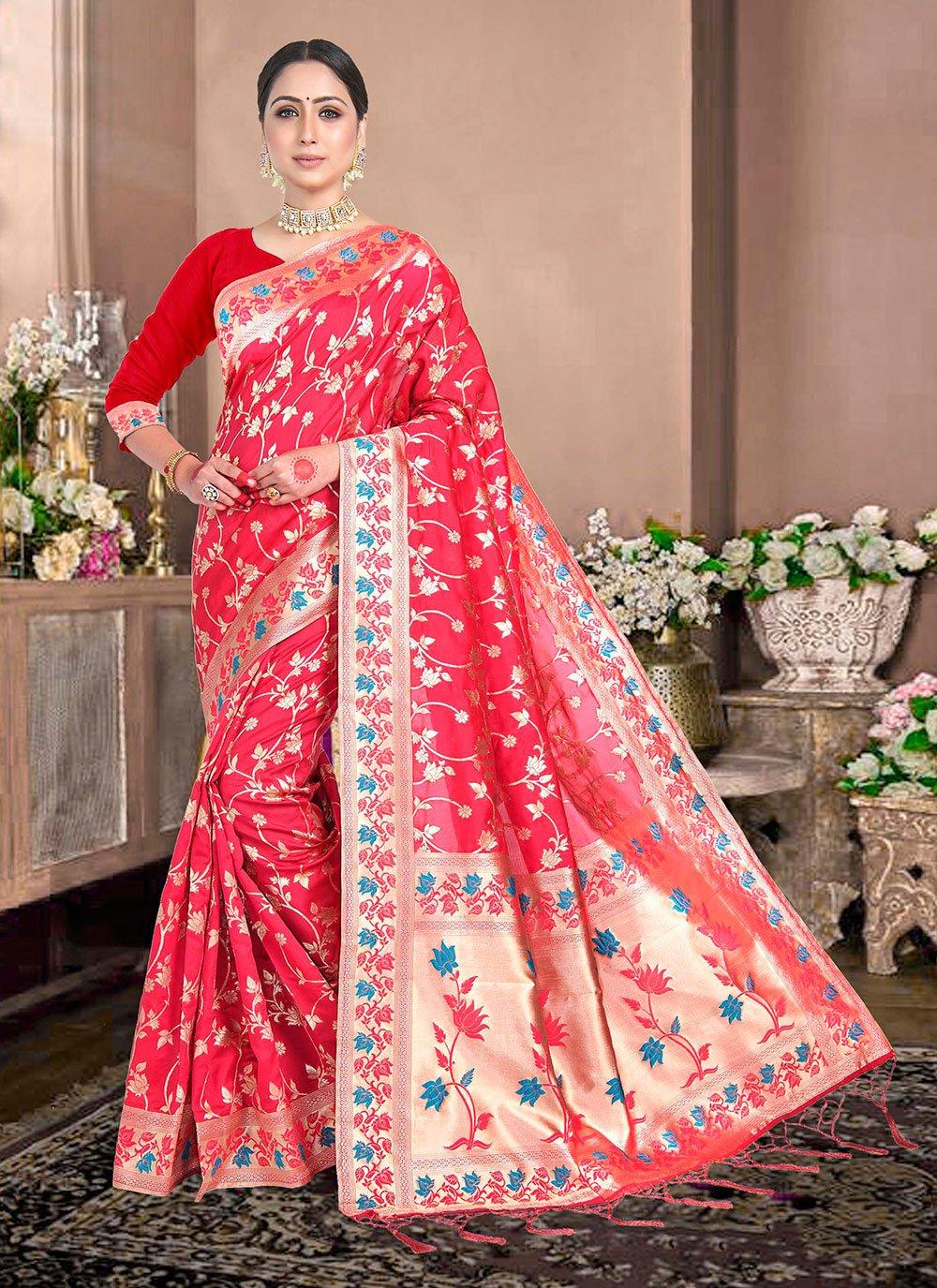 Red Silk Weaving Trendy Saree
