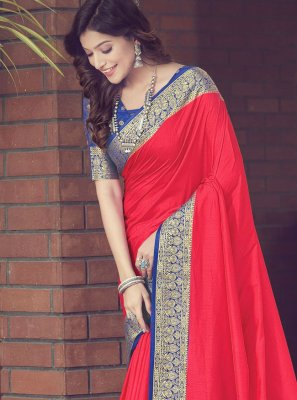 Red Silk Woven Traditional Designer Saree