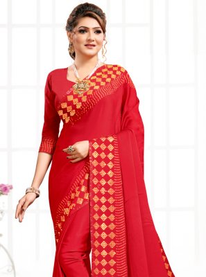 Red Swarovski Party Bollywood Saree