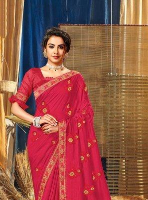 Red Thread Vichitra Silk Classic Saree