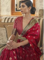 Red Tussar Silk Designer Traditional Saree