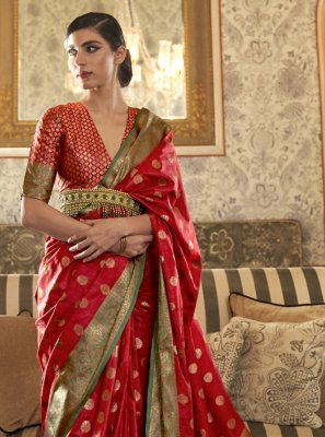 Red Tussar Silk Designer Traditional Saree