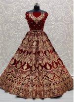 Red Velvet Embroidered Trendy Lehenga Choli