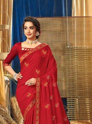 Red Vichitra Silk Festival Contemporary Saree