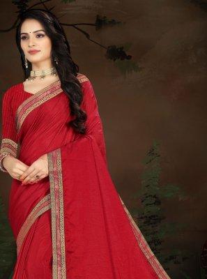 Red Vichitra Silk Traditional Designer Saree