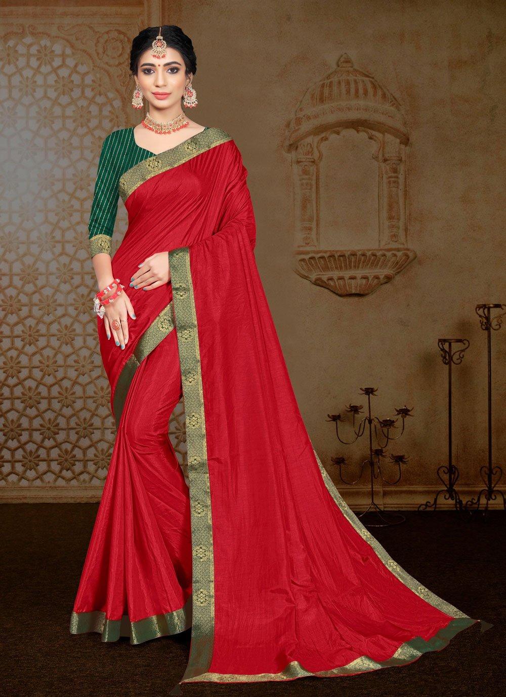 Red Vichitra Silk Traditional Saree