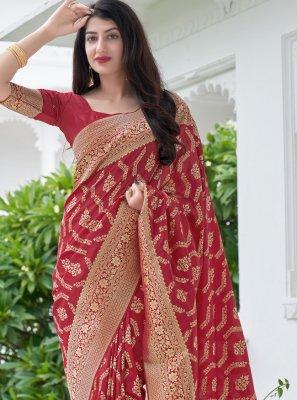 Red Weaving Art Banarasi Silk Designer Traditional Saree