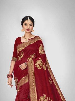 Red Weaving Art Silk Silk Saree