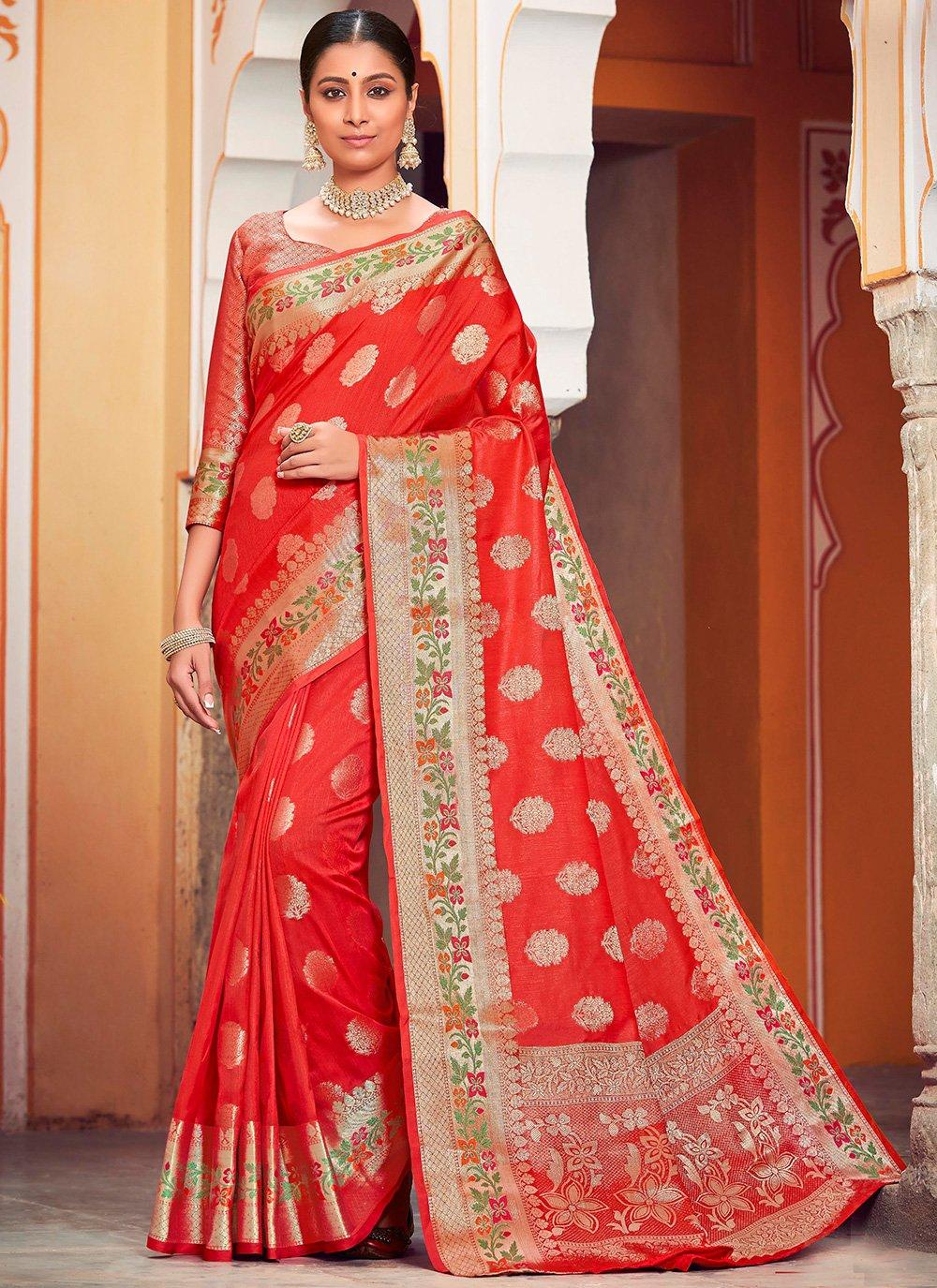 Red Weaving Banarasi Silk Bollywood Saree
