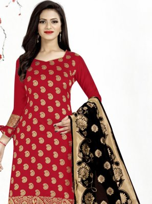 Red Weaving Banarasi Silk Churidar Designer Suit