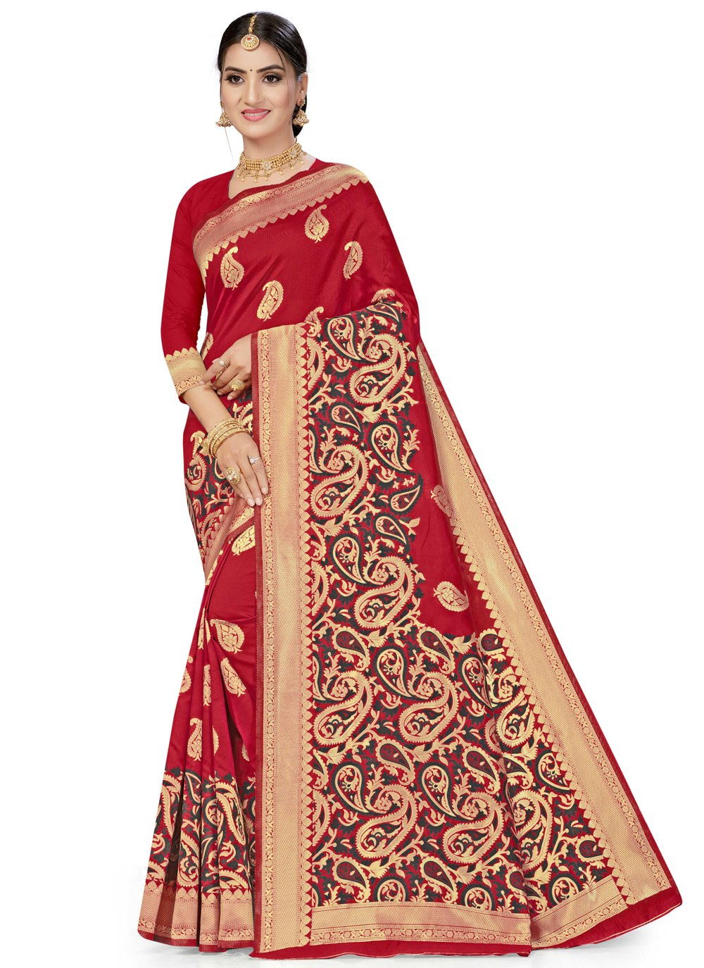 Red Weaving Banarasi Silk Designer Traditional Saree