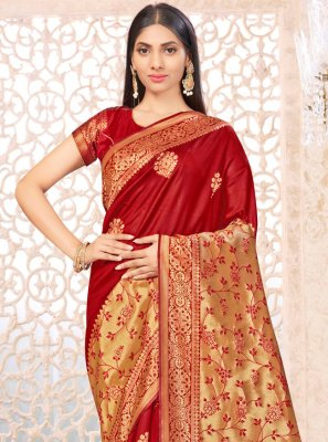 Red Weaving Banarasi Silk Traditional Saree