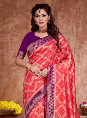 Red Weaving Ceremonial Traditional Designer Saree