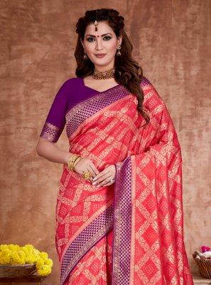 Red Weaving Ceremonial Traditional Designer Saree