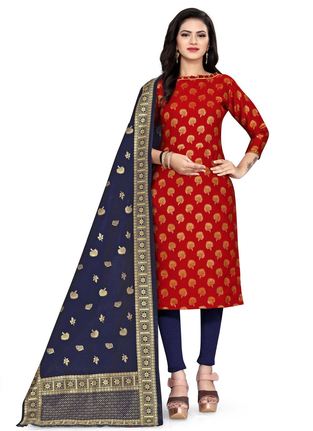 Red Weaving Churidar Designer Suit