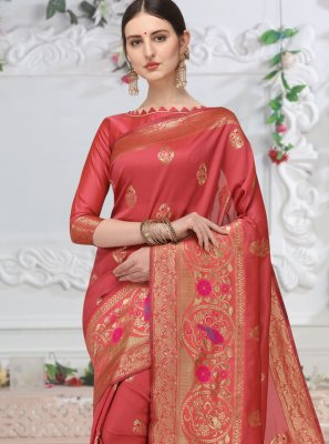 Red Weaving Cotton Classic Saree