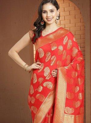 Red Weaving Designer Traditional Saree