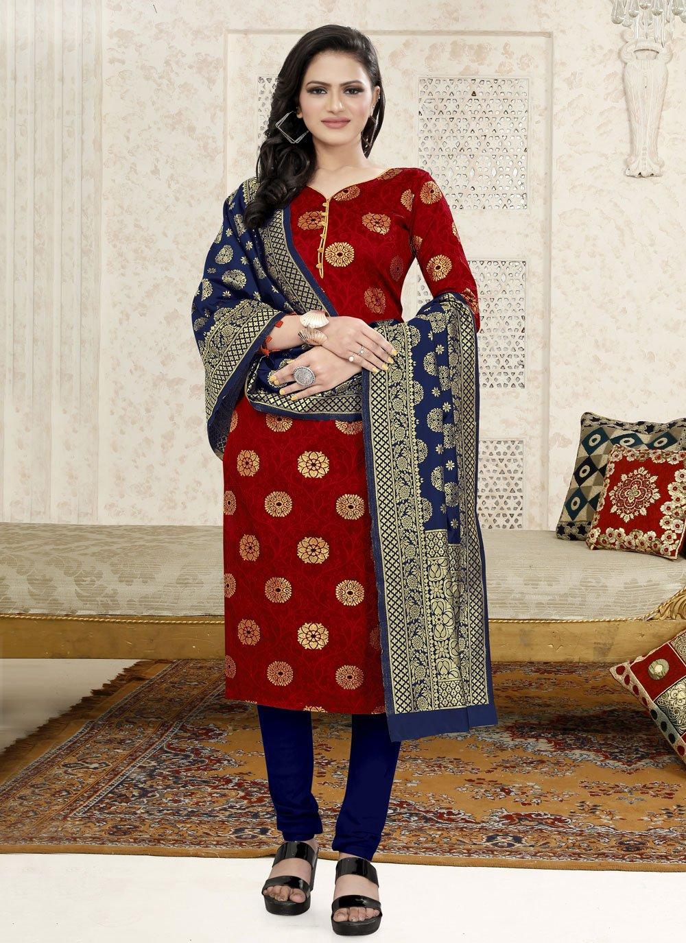 Red Weaving Fancy Fabric Churidar Suit