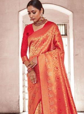 Red Weaving Handloom silk Designer Traditional Saree