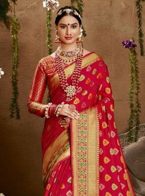 Red Weaving Jacquard Silk Designer Saree