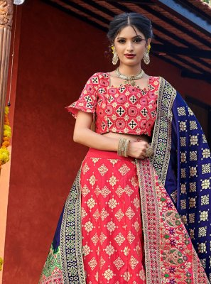 Red Weaving Lehenga Choli