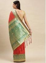 Red Weaving Mehndi Designer Traditional Saree