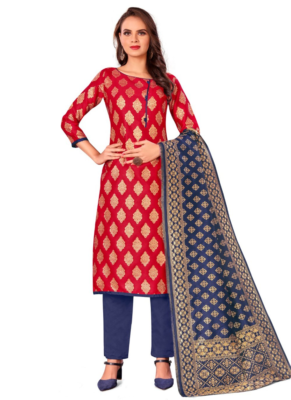 Red Weaving Pant Style Suit