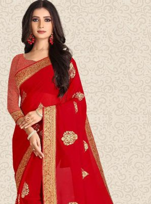 Red Weaving Party Bollywood Saree