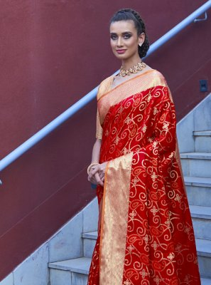 Red Weaving Silk Traditional Designer Saree