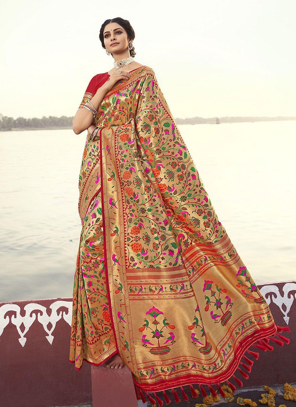 Red Weaving Traditional Designer Saree