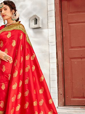 Red Weaving Wedding Designer Traditional Saree