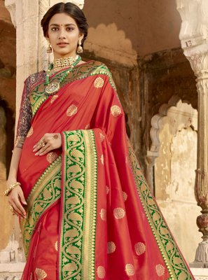 Red Woven Classic Saree