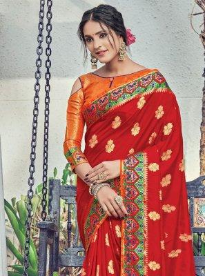 Red Woven Festival Designer Traditional Saree