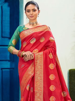 Red Woven Festival Traditional Saree