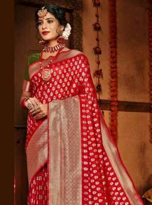 Red Woven Silk Traditional Designer Saree