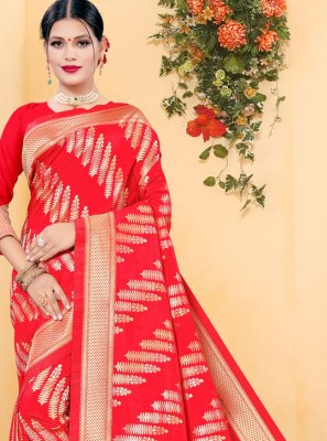 Red Woven Traditional Designer Saree
