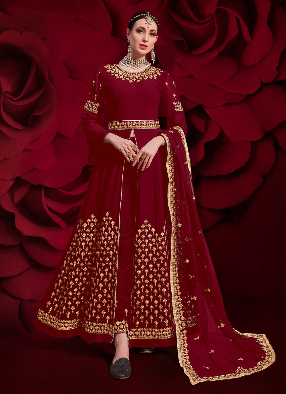 Red Zari Pant Style Suit